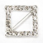 18mm 50pcs Square diamond Rhinestone Buckle Invitation Ribbon Slider For Wedding Supply Silver Color