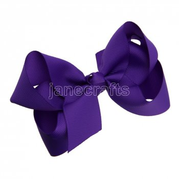 12pcs 4.5  Solid Grosgrain Chunky Boutique Hair Bows Without Clip-Purple
