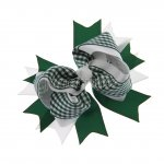 "12pcs 4.5"" Gingham Layered Spike Hair Bow Without Clip- Hunter"