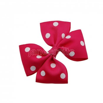 12pcs 3.5  Medium Grosgrain Pinwheel Hair Bows without Clip-Shocking Pink with White Dot