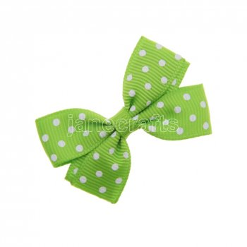 12pcs 2  Swiss Dot Pigtail Hair Bows NO CLIP-Apple green with white