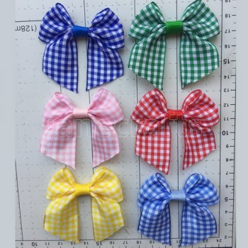 12pcs 2.5   Gingham cheer bow w/out Clips