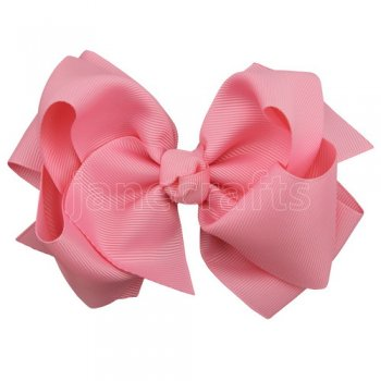 12pcs 5 inch layered boutique bow clip-pink