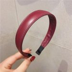 wholesale 5pcs Red 2.3cm Wide Thin PU Leather Headband for Girls Fashion Simple Vintage Hair Hoop for Women Headdress