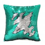 10pcs wholesale green / silver two tone reversible sequin cushions cover pillow case