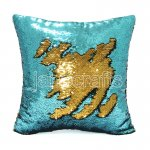 10pcs wholesale lake blue / gold two tone reversible sequin cushions cover pillow case