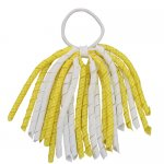 12 pcs school color white / yellow gingham 6 inch long korker bow w/ pony tail holder
