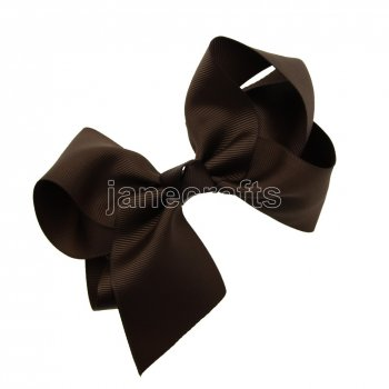12pcs 5.5  Huge Solid Grosgrain Chunky Boutique Hair Bows With Clips-Brown
