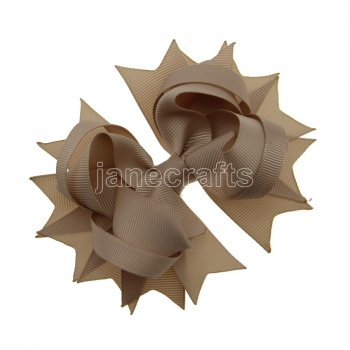 12pcs 4.5  Solid Spike Hair Bow Clips-Tan