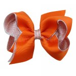 12pcs 4.5 inch silver layered boutique bow clip-torrid orange
