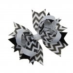 "12pcs 4.5"" Chevron Spike Hair Hair Bows NO CLIP-Black"