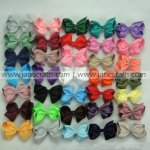 100pcs 3.5 inch Solid Chunky Grosgrain Bow Clips Random Color