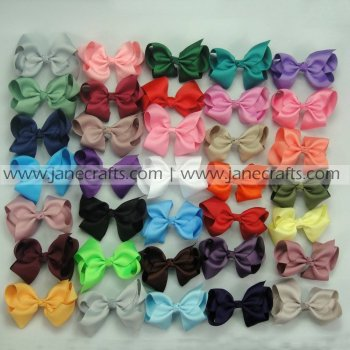 100pcs 3.5 inch Solid Chunky Grosgrain Bows Random Color