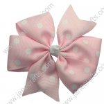 "Wholesale 300pcs-4"" Polka Dot Pinwheel Girl Hair Bow Pink"