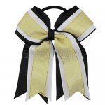 12pcs 5 inch gold / white 3 layered cheer bow ponytail holder-black