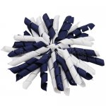 12 pcs school color white / navy grosgrain 5 inch korker bow w/ lined clips