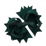 "12pcs 4.5"" Solid Spike Hair Bows NO CLIP-Hunter"
