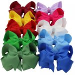 "4"" Solid Layered Boutique Chunky Hair Bow Clips 10pcs in 10 Color"