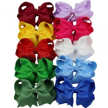 4  Solid Layered Boutique Chunky Hair Bow Clips 10pcs in 10 Color