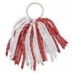 12 pcs school color white / red gingham 6 inch long korker bow w/ pony tail holder