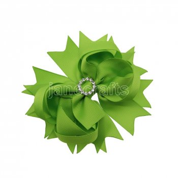 12pcs 4.5  Bling Spike Hair Bows with Rhinestone Slider Center With Clips-Apple Green