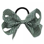 12 pcs school color green gingham 5 inch boutique bow w/ pony tail holder