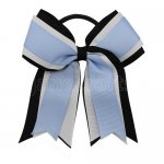 12pcs 5 inch black / white 3 layered cheer bow ponytail holder-bluebird