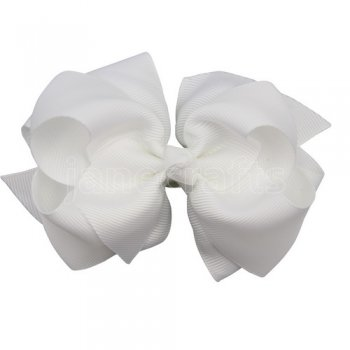 12pcs 4 inch layered boutique bow clip-white