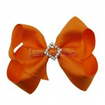 "12pcs 4.5"" Bling Chunky Boutique Hair Bows with Rhinestone Slider Center With Clips-Torrid Orange"