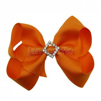 12pcs 4.5  Bling Chunky Boutique Hair Bows with Rhinestone Slider Center With Clips-Torrid Orange