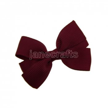 12pcs 2  Solid Pigtail Hair Bow Clips-Burgundy School Spirit