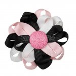 "12pcs 3"" Flower Loop Hair Bow NO Clip-Black/Lt Pink/White"