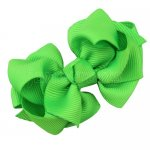 12pcs 2.5 inch layered boutique bow clip-acid green