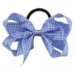 12 pcs school color lt.blue gingham 5 inch boutique bow w/ pony tail holder