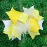 "12pcs 4"" Feather Hair Bows With Clips-Lemon"