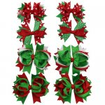 Large Layered Christmas Hair Bow in Red Green Holiday Set Accessary 8pcs Mixed in 4 Colors
