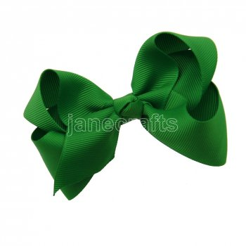 12pcs 4.5  Solid Grosgrain Chunky Boutique Hair Bows Without Clip-Emerald
