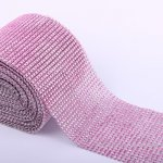 "4.6"" Wedding Diamond Mesh Wrap Roll Sparkle Rhinestone Looking Ribbon 10 yard-Pink"