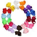 14pcs 4.5 Inch Solid Grosgrain Hair Bow Clips Mix 14 Color