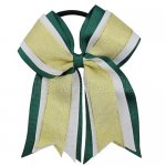 12pcs 5 inch gold / white 3 layered cheer bow ponytail holder-hunter