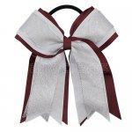 12pcs 5 inch silver / white 3 layered cheer bow ponytail holder-burgundy