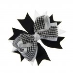 "12pcs 4.5"" Gingham Layered Spike Hair Bow Without Clip- Black"