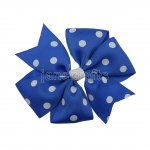 "12pcs 4"" Polka Dot Pinwheel Hair Bow No Clip-Royal with White"