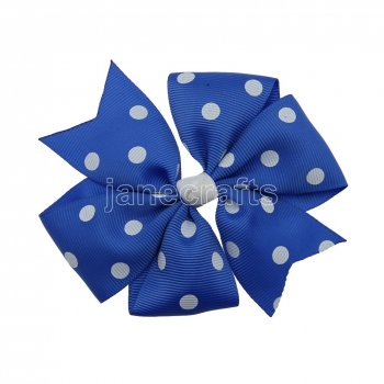 12pcs 4  Polka Dot Pinwheel Hair Bow Clips-Royal with White