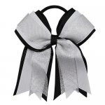 12pcs 5 inch silver / white 3 layered cheer bow ponytail holder-black
