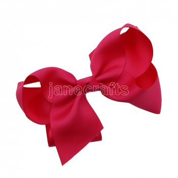 12pcs 5.5  Huge Solid Grosgrain Chunky Boutique Hair Bows Without Clip-Shocking Pink