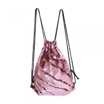 10pcs wholesale Mermaid Reversible Sequin Drawstring Backpack pink/gold