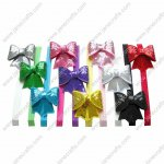 10pcs Sequin Hair Bow Hair Bands 10 Colors