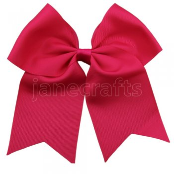 12 pcs shocking pink grosgrain 7 inch cheerleading bow w/ Clips
