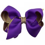 12pcs 3.5 inch gold layered boutique bow clip-purple